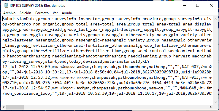 CSV file Lao characters not showing after export from ODK Briefcase